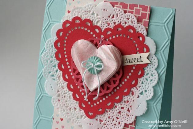 a doily valentine close up