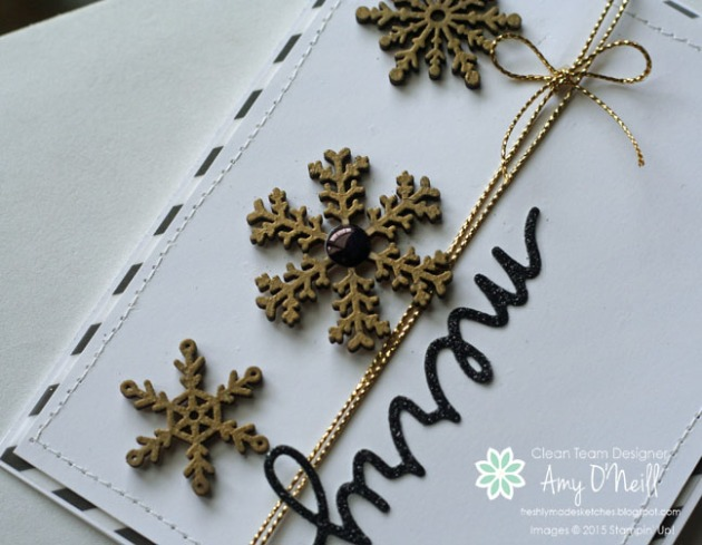 Gold Snowflakes Trio Close Up