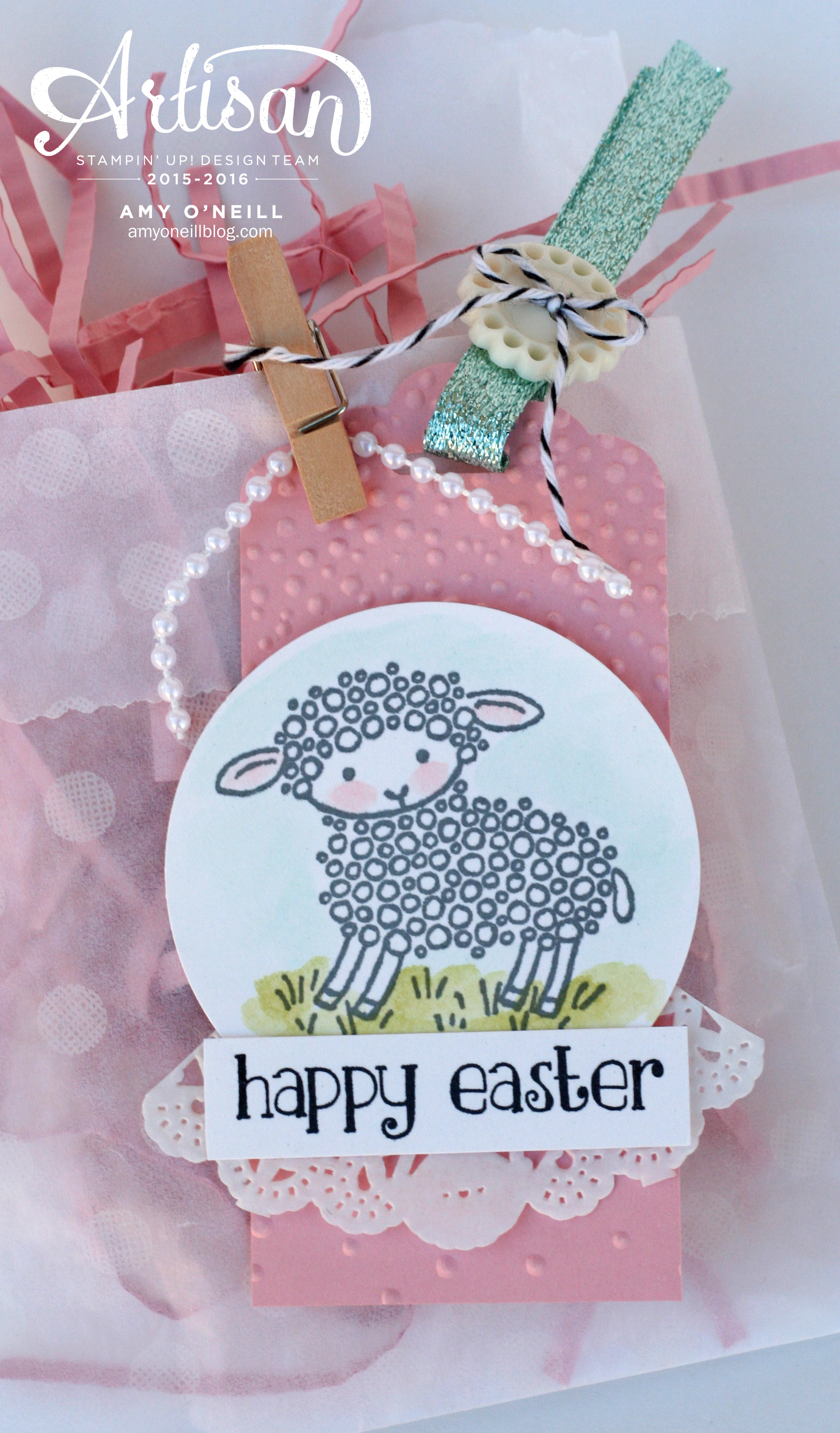 Easter lamb gift set stampin up artisan blog hop easter sheep gift bag close up negle Image collections